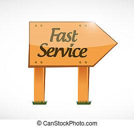 fast service wood sign concept illustration design over ...