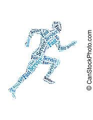 Fast Service words on man running symbol, symbolizing speedy...