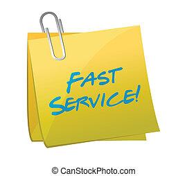 fast service written on a post. illustration design