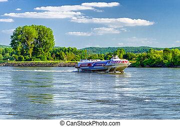 Fast ship on river Danube, Slovakia