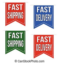 Fast shipping and fast delivery ribbons set on white, vector...