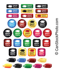 Fast Shipping Box Icons And Buttons