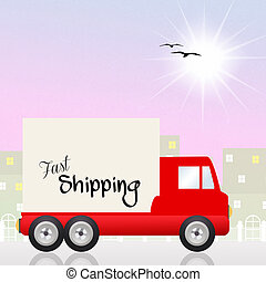 Fast shipping - Illustration of fast shipping