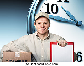 fast shipping - smiling delivery man and 3d clock