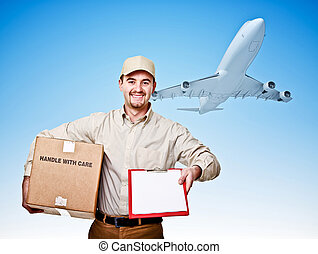 fast shipping - caucasian delivery man and airplane