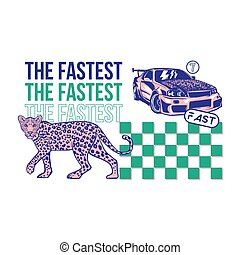 Fast sport car and leopard print - Fashion design print on...