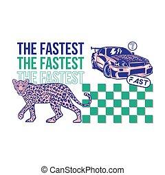 Fast sport car and leopard print - Fashion design print on...