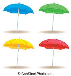 fast, stranden paraply