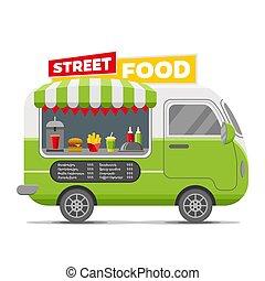 Fast street food vector caravan trailer