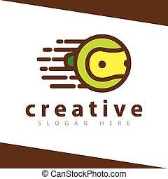 Fast Tennis ball Logo Design Vector