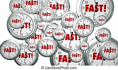 Fast Time Clocks Flying Speed Service 3d Illustration