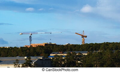 Fast time lapse of tower cranes and construction site