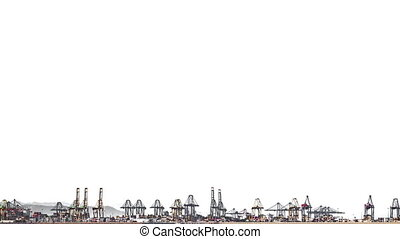 Fast Timelapse of port cranes over white background - Fast...