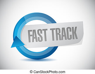 fast track cycle sign concept illustration design