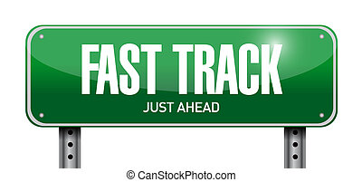 fast track road sign illustration design