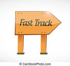 fast track wood sign concept illustration