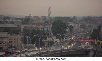 Fast traffic on the bridge timelapse