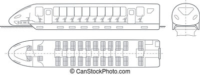 fast train - drawing speed passenger trains on the magnetic...