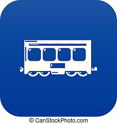 Fast train icon blue vector