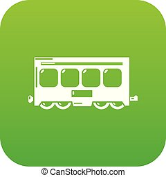 Fast train icon green vector