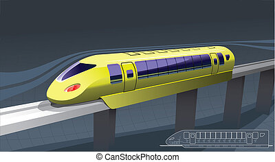 illustration of a train of magnetic suspension. in the lower right corner - the drawing. -side view.