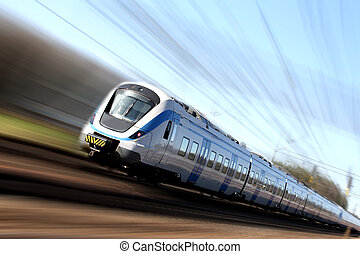 Fast train in motion