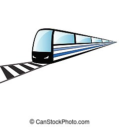 fast train on the rails vector illustration on white