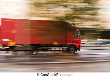 Fast Transport - A transport truck blur abstract showing...