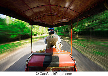 Fast tuk tuk - Point of view shot from inside a moving tuk...