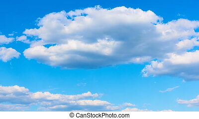 Fast white cumulus clouds - Blue sky and fast white cumulus...