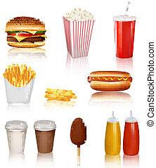 fasta, produkter, stor, grupp, mat
