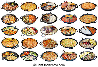 faste, gade, homemade, mad, ind, stor, stege pans, isoleret, sæt