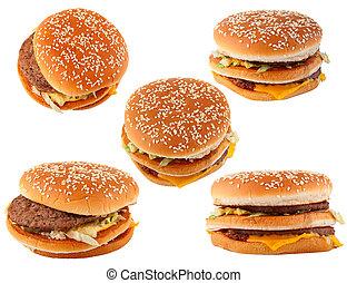 faste, mad., gruppe, hamburger, isoleret, på hvide