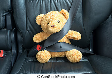 fastened, тедди, автомобиль, назад, медведь, сиденье