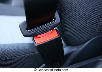 Fastened car seat belt.