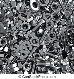 Fasteners background - Heap of fasteners objects, industrial...