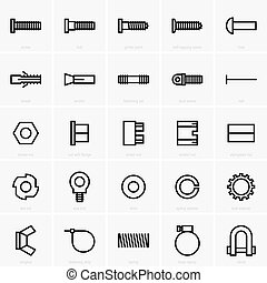 Fasteners icons - Set of twenty five fasteners icons