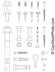 Fasteners - outline of nuts bolts and screws