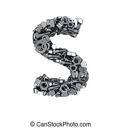 Fasteners S - Big letter S made from metal fasteners