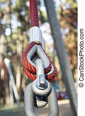Fastening of plastic cables with steel rod in the park
