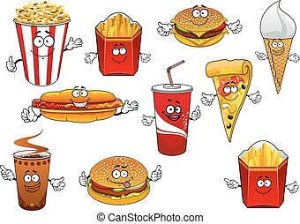 Fastfood abd takeaway cartoon characters