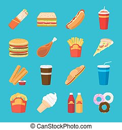 Fastfood and drink flat icons