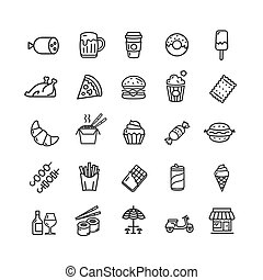 Fastfood and Street Food Black Thin Line Icon Set. Vector