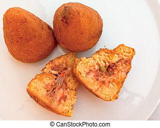 fastfood, arancini, sparato, sicilia, -, tradizionale, riso