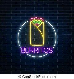 fastfood, burrito, frame., lumière, néon, symbole., signe, incandescent, item., menu, panneau affichage, cercle, café