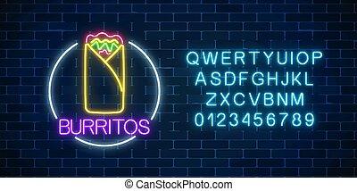 fastfood, burrito, lumière, cadre, néon, symbole., signe, incandescent, panneau affichage, alphabet., cercle
