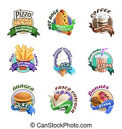 Fastfood Cartoon Colorful Emblems Set