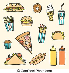 Fastfood cartoon set - Vector EPS10 hand drawn set of ...
