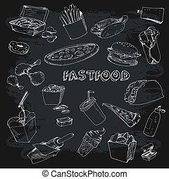 fastfood, collectionon, pizarra