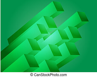 Fastfood combo - Abstract 3d geometric rectangular cluster...